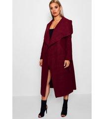 plus wool look coat, wine