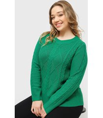 sweater io con trenzas verde - calce holgado