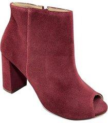 ankle boot couro capodarte camurça salto grosso - vermelho - 38 - feminino