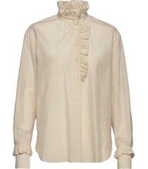 frillo ls blouse blouse lange mouwen beige second female