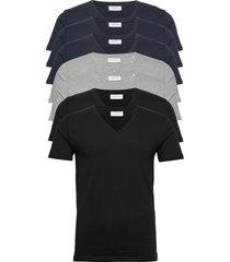 basic v-neck tee s/s 7 pack t-shirts short-sleeved svart lindbergh