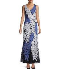 js collections women's textured leaf gown - slate blue - size 2
