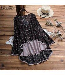 zanzea playa de las mujeres tapas florales flojo señoras de la blusa de manga larga de la camiseta del tamaño extra grande -negro