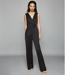 reiss vita - satin wrap front jumpsuit in black, womens, size 10