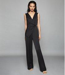 reiss vita - satin wrap front jumpsuit in black, womens, size 10