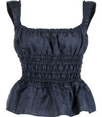 brock collection silvia shirred ruffle-hem blouse - blue