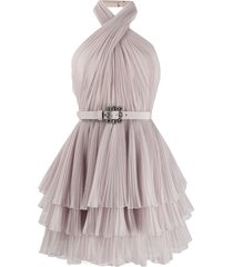 alberta ferretti halterneck tulle mini dress - neutrals