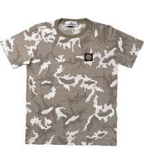 stone island camoflage beige print short sleeve t shirt