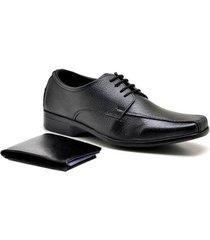 kit sapato sandro & co. derby tradicionally + carteira gr01 masculino - masculino