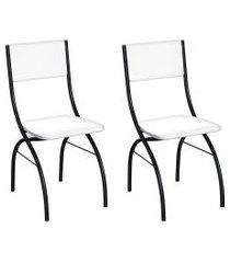 conjunto com 2 cadeiras dubbo branco e preto