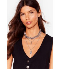 womens cross my mind layered chain necklace - silver