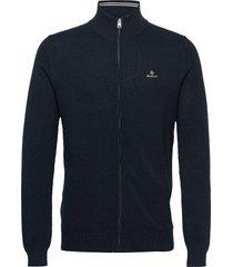 cotton pique zip cardigan gebreide trui cardigan blauw gant