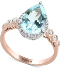 aquarius by effy aquamarine (2-1/2 ct. t.w.) & diamond (1/4 ct. t.w.) ring in 14k rose & white gold