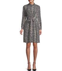 snakeskin-print silk button-front dress