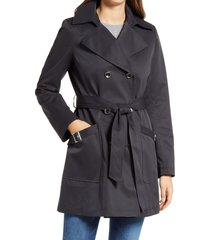 women's via spiga water resistant belted trench coat with removable hood, size small - black