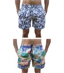 kit 2 bermuda short moda praia estampada dollar e indiana