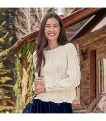 sundance catalog women's gable road sweater in vanilla large