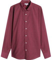 camisa m/l miniprint puntos color vino, talla s