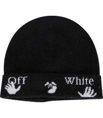 off-white felted wool beanie hat