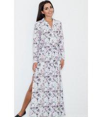 sukienka maxi z paskiem biała w kwiaty