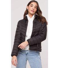 casaco amaro puffer nylon com bolsos zãper preto - preto - feminino - dafiti