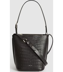 reiss hudson mini croc - leather embossed croc mini bucket bag in black, womens