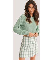 basma & merna x na-kd stickad tröja med mönster - green
