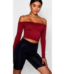 basic long sleeve bardot crop top, wine