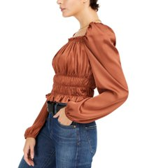 bar iii square-neck smocked puff-sleeve top, created for macy's