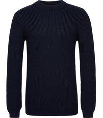 weber gebreide trui met ronde kraag blauw minimum