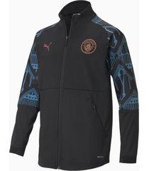 man city stadium youth football jacket, zwart/blauw/aucun, maat 128 | puma