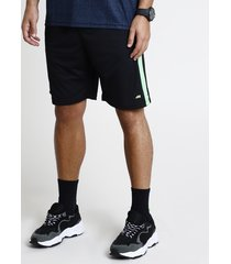 bermuda masculina esportiva ace com faixa lateral preto