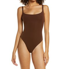 women's skims fits everybody square neck sleeveless bodysuit, size medium - black