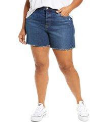 plus size women's levi's 501(tm) fray hem denim shorts, size 22w - blue