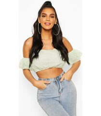 organza off the shoulder crop top, mint