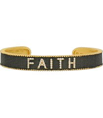 freida rothman pave faith cuff bracelet in gold and black at nordstrom