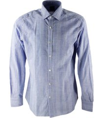 barba napoli man shirt model dandy life with 4 lines on caleste background hand-sewn