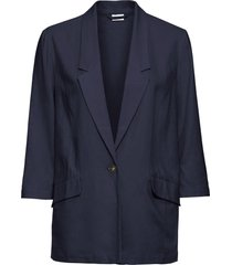 blazer in misto lino (blu) - bodyflirt