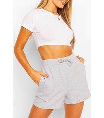 high waist jersey sweat shorts, grey marl