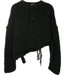 yohji yamamoto destroyed henley sweater - black