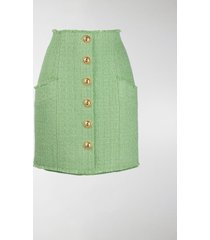 balmain button-detail tweed skirt