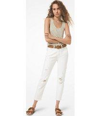 mk jeans a vita alta in denim effetto sdrucito - bianco (bianco) - michael kors