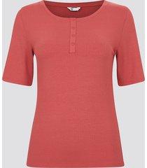 ribbad t-shirt med knappar - röd