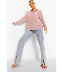 dobby mesh blouse met lange mouwen, rose