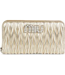 matelassé metallic leather zip-around wallet