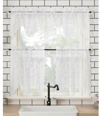 "alison 58"" x 24"" floral lace valance and tiers set"