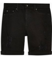 mens black ripped denim spray on shorts