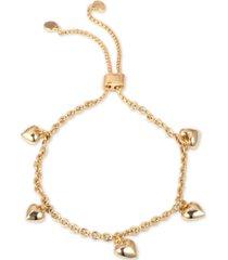 dkny gold-tone heart charm slider bracelet