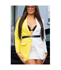 sexy lange two-tone blazer met riem geel