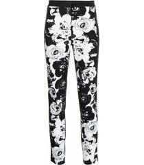 floral cigarette pants in printed denim